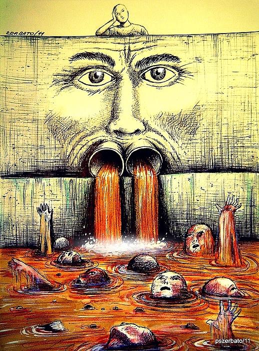 Sewage Digital Art - Mouth Speaks What The Heart Is Full by Paulo Zerbato