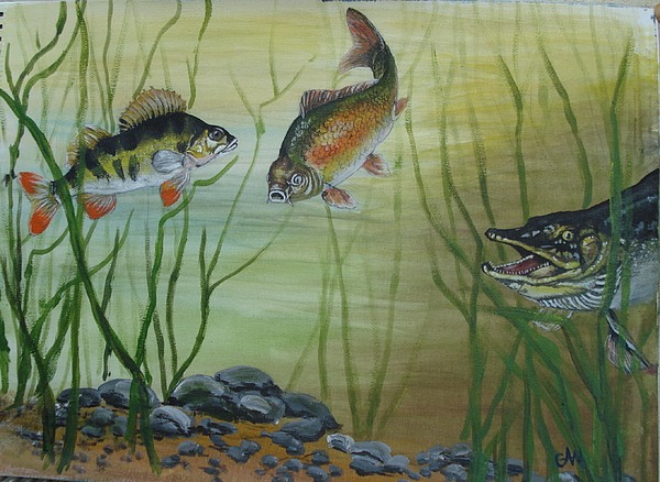 Pike Painting - Move Quick Here Comes Pike by Carol Williams