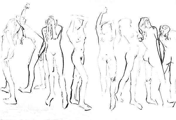 Life Drawing Drawing - Movement by Joanne Claxton