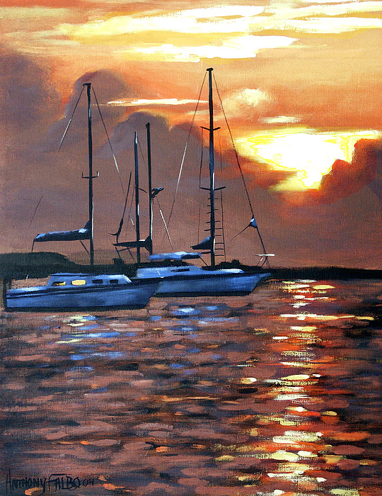 Seascape Painting - Moving Toward The Light by Anthony Falbo