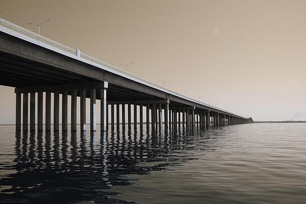 Water Photograph - Mprints - Hwy 90 Bridge by M  Stuart