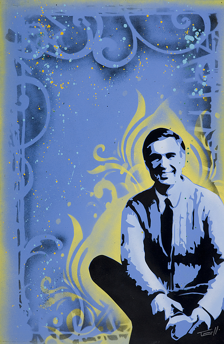 Blue Painting - Mr. Rogers by Tai Taeoalii