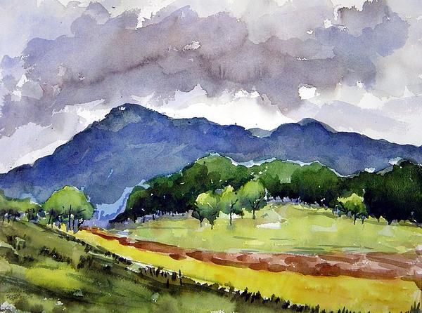 Landscape Painting - Mt. Eagle Tennessee Landscape by Ujjagar Singh Wassan