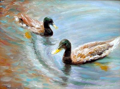 Ducks Painting - Mt Playhouse Ducks by Chuck Percherke