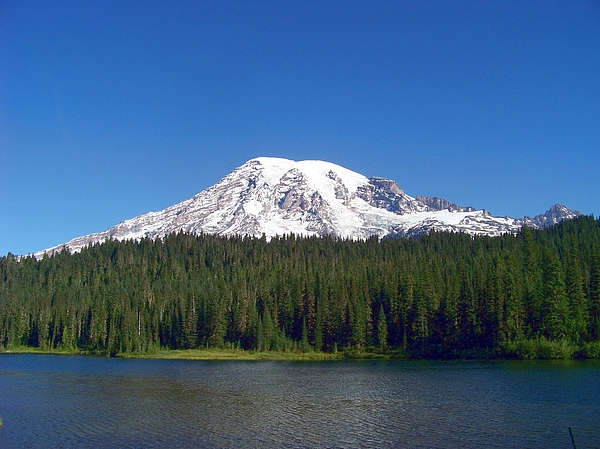 Mountains Photograph - Mt. Rainier At Reflection Lake by Charles Robinson