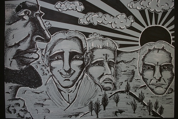 Mt. Rushmore Mixed Media - Mt Rushless by Travis  Ko