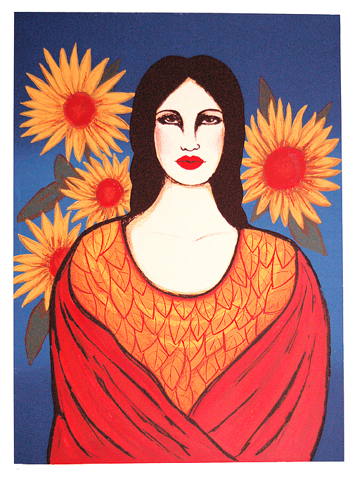 Mujer Print - Mujer Con Flores by Laura Lopez Cano