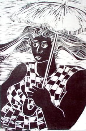 Woman Mixed Media - Mulher Com Sombrinha by Maria Lucia Pacheco