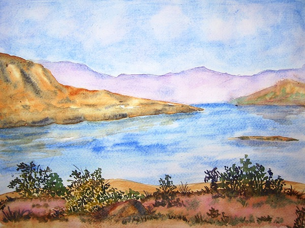 Landscape Painting - Mulshi Lake by Monika Deo