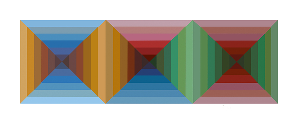 Multi-color Graphic Horizontal Maze Painting by Beverly Trivane