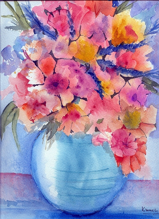 Flowers Painting - Multiflora In Turquoise Vase by Harold Kimmel