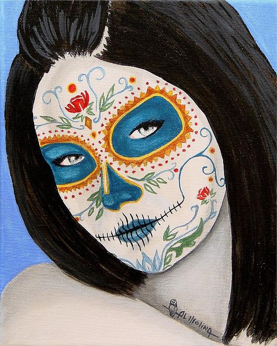Dia De Los Muertos Painting - Muneca De Azul by Al  Molina