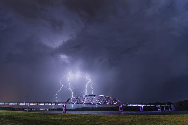 Muscatine Bridge Lightning Photograph by Paul Brooks