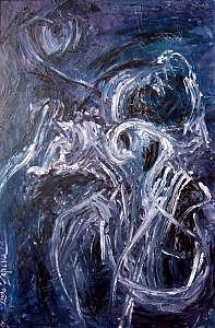 Abstract Painting - Muse-lyre by Lyuba Zahova