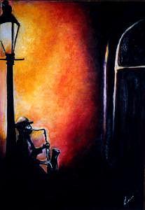 Music Sax Painting by Lani Goeldi