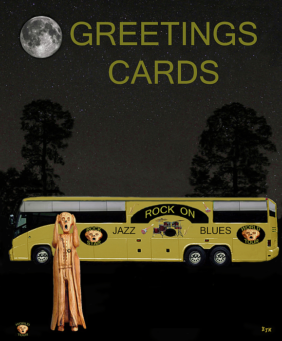 Greetings Cards Mixed Media - Music Tour Scream by Eric Kempson