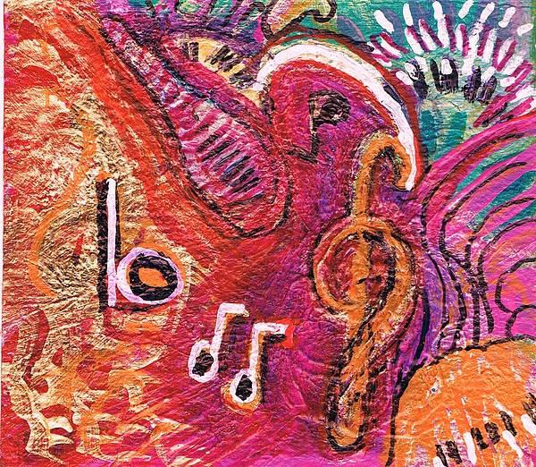 Red Painting - Musical Abstraction by Anne-Elizabeth Whiteway