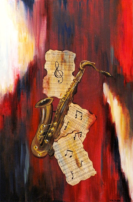 Abstract Painting Painting - Musical Heart by Rita  Ibrahim