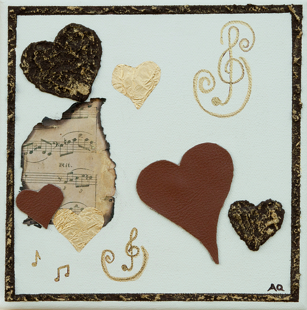 Tan Hearts Mixed Media - Musical Love - Tan Hearts by Alison Quine