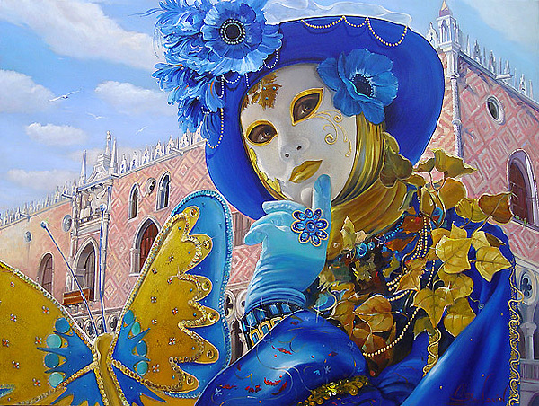 Musing Of Azure Mask Painting by Alex Levin