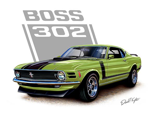 Mustang Painting - Mustang Boss 302 Grabber Green by David Kyte