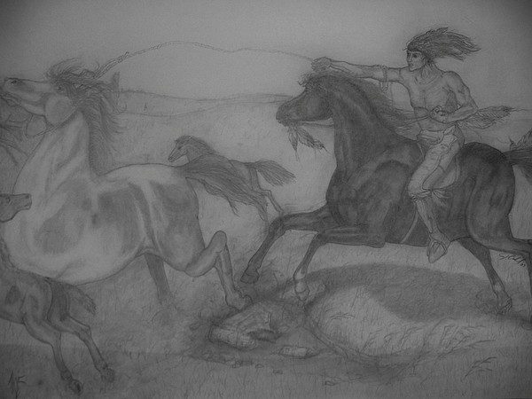 Indians Drawing - Mustang Roundup by Jose Cabral