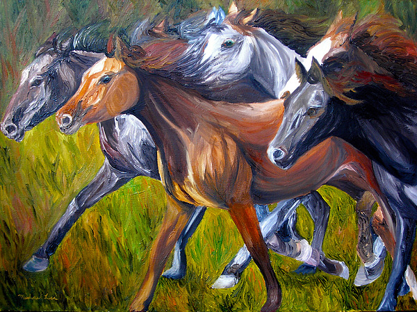 Wild Horses Painting - Mustang Spirit by Michael Lee