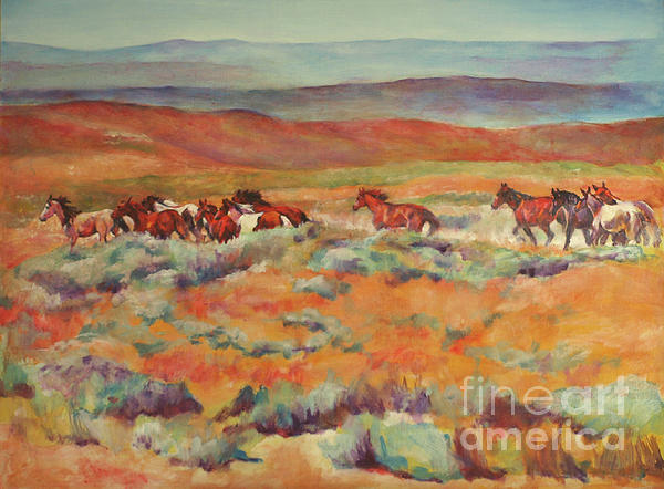 Horse Painting - Mustangs Running Near White Mountain by Karen Brenner