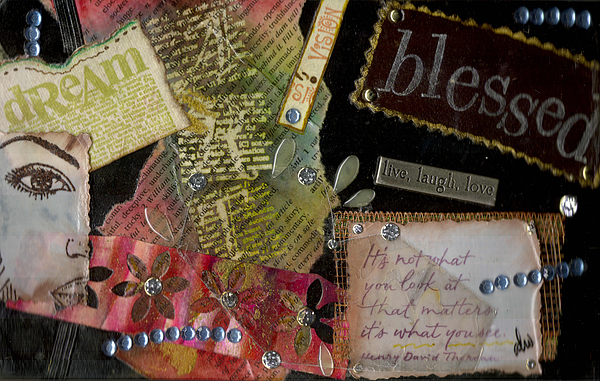 Gretting Cards Mixed Media - My Art Journal - Blessed by Angela L Walker