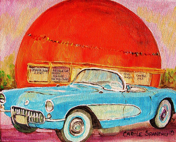 Montreal Painting - My Blue Corvette At The Orange Julep by Carole Spandau
