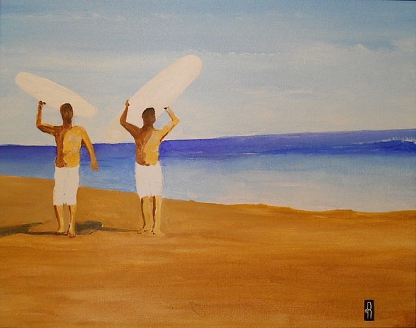 Surf Painting - my brother and I by Fred Reid