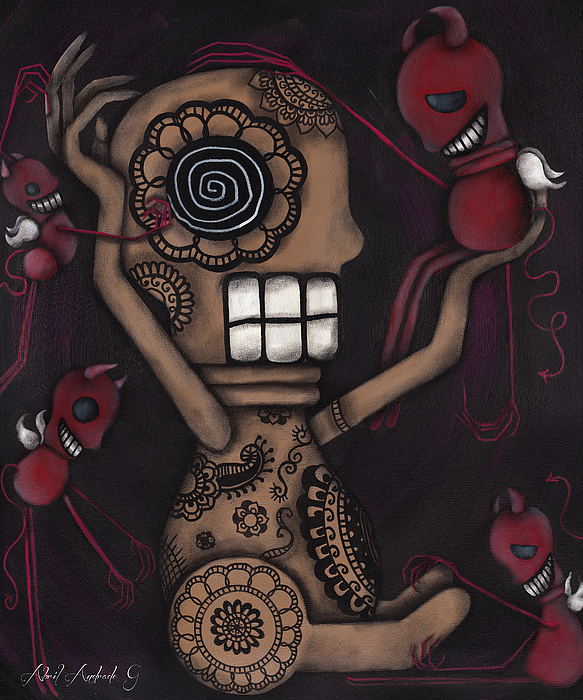 Day Of The Dead Painting - My Conscience by  Abril Andrade Griffith
