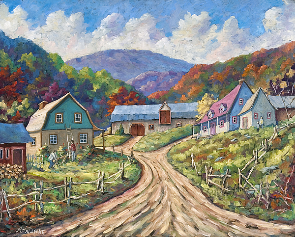 Country Painting - My Country My Village by Richard T Pranke