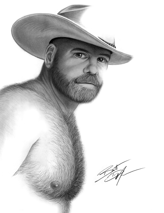 Men Drawing - My Cowboy by Brent  Marr