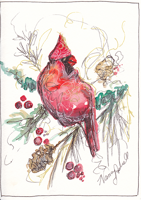 Ornament Painting - My Favorite Cardinal by Michele Hollister - for Nancy Asbell