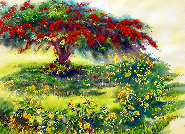 Watercolor Paintings Painting - My Flamboyant Tree by Estela Robles
