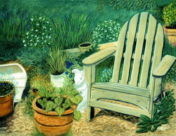 Landscapes Pastel - My Garden Chair by Jan Amiss
