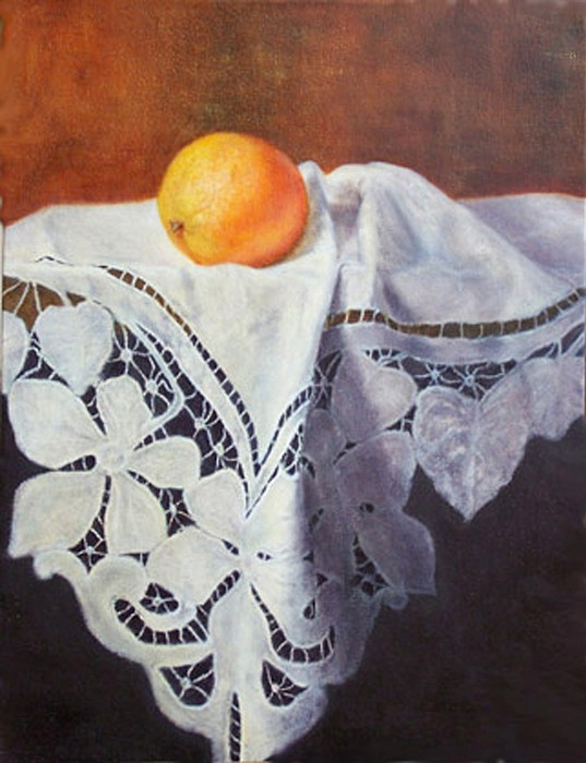 Orange Painting - My Grandmothers Tablecloth by Georgina  Love