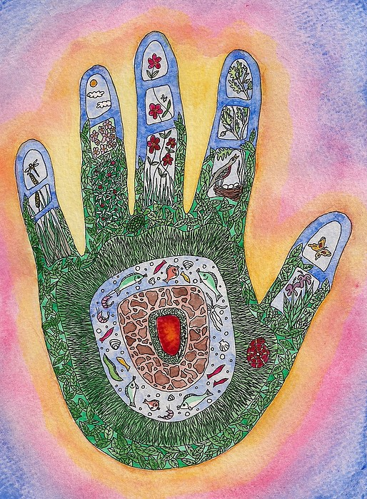 Nature Painting - My Handprint On The World by Melanie Rochat