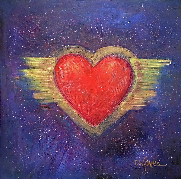 Heart Painting - My Heart My Strength by Laurie Maves ART