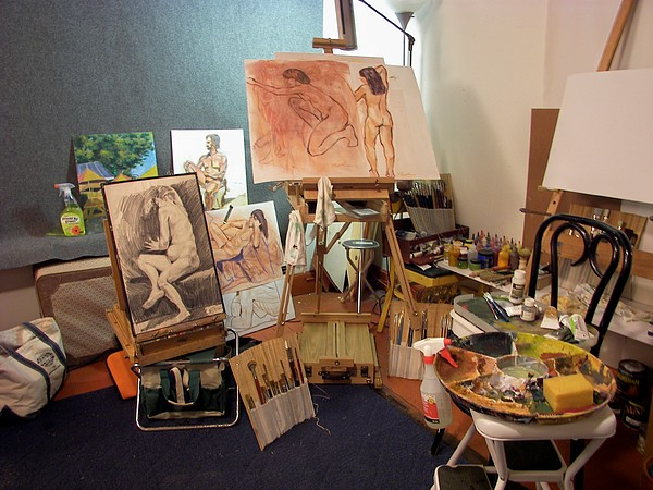 Art Studio Drawing - My New Studio by Charles Peck