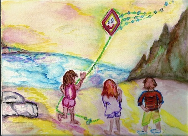 Children Painting - My Sister My Brother My Kite by Helena Bebirian
