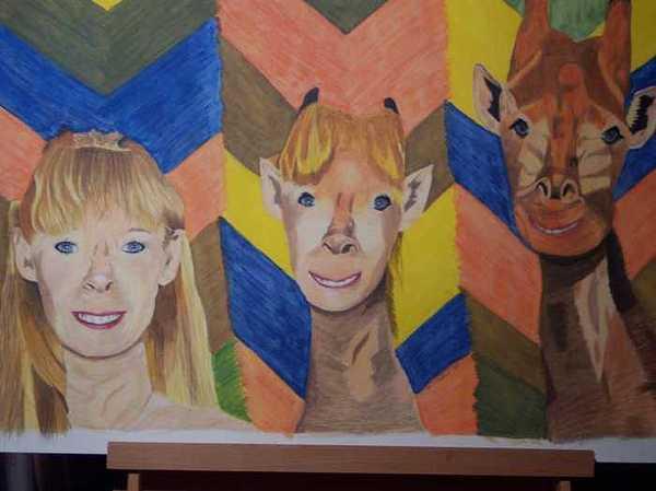 Self Portrait Painting - Myself Morphing Into A Giraffe by Sherri Ward