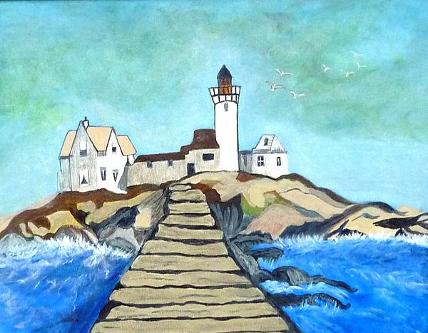 Acrylic Painting - Mystery Lighthouse by Anke Wheeler
