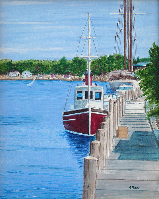 Seascape Painting - Mystic Dock by Anthony Ross