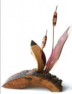 Oak Sculpture - Nantucket Cattails by Steven Bunnelle