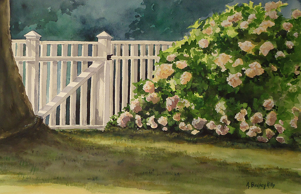 Picket Fence Painting - Nantucket Fence Number Two by Andrea Birdsey Kelly