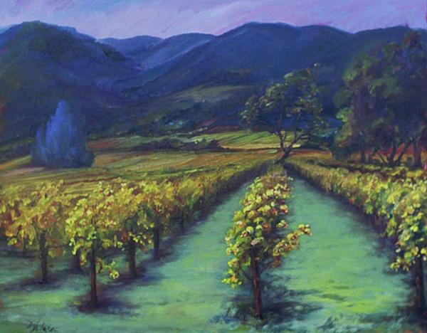 Napa Valley Painting - Napa Valley Vineyards Down Silverado By Deirdre Shibano by Deirdre Shibano