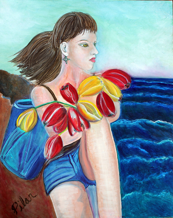 Natasha By The Sea Painting by Pilar  Martinez-Byrne