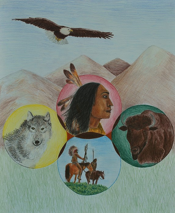 Native Americans Drawing - Native American Circle Of Life by Jessica Hallberg